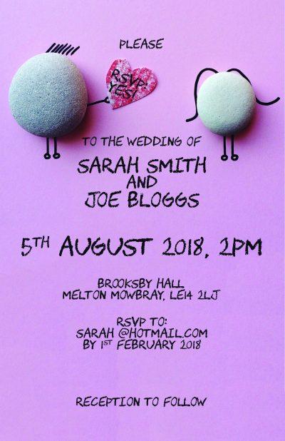 Fuzzy Flamingo Wedding Invite 2