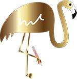 Fuzzy Flamingo Logo Small (Gold)